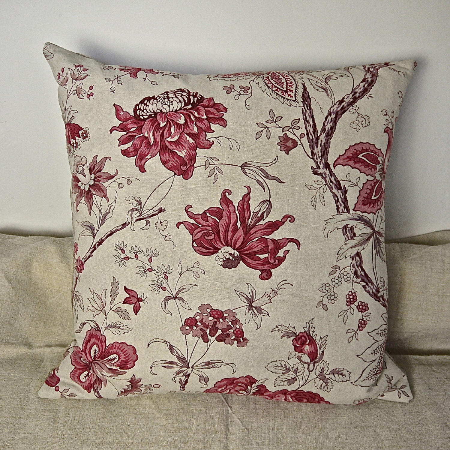 Pink Roses and Flowers Cotton Cushion French Late 19th Century