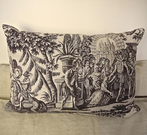 Purple Toile de Nantes Cotton Cushion French c.1805