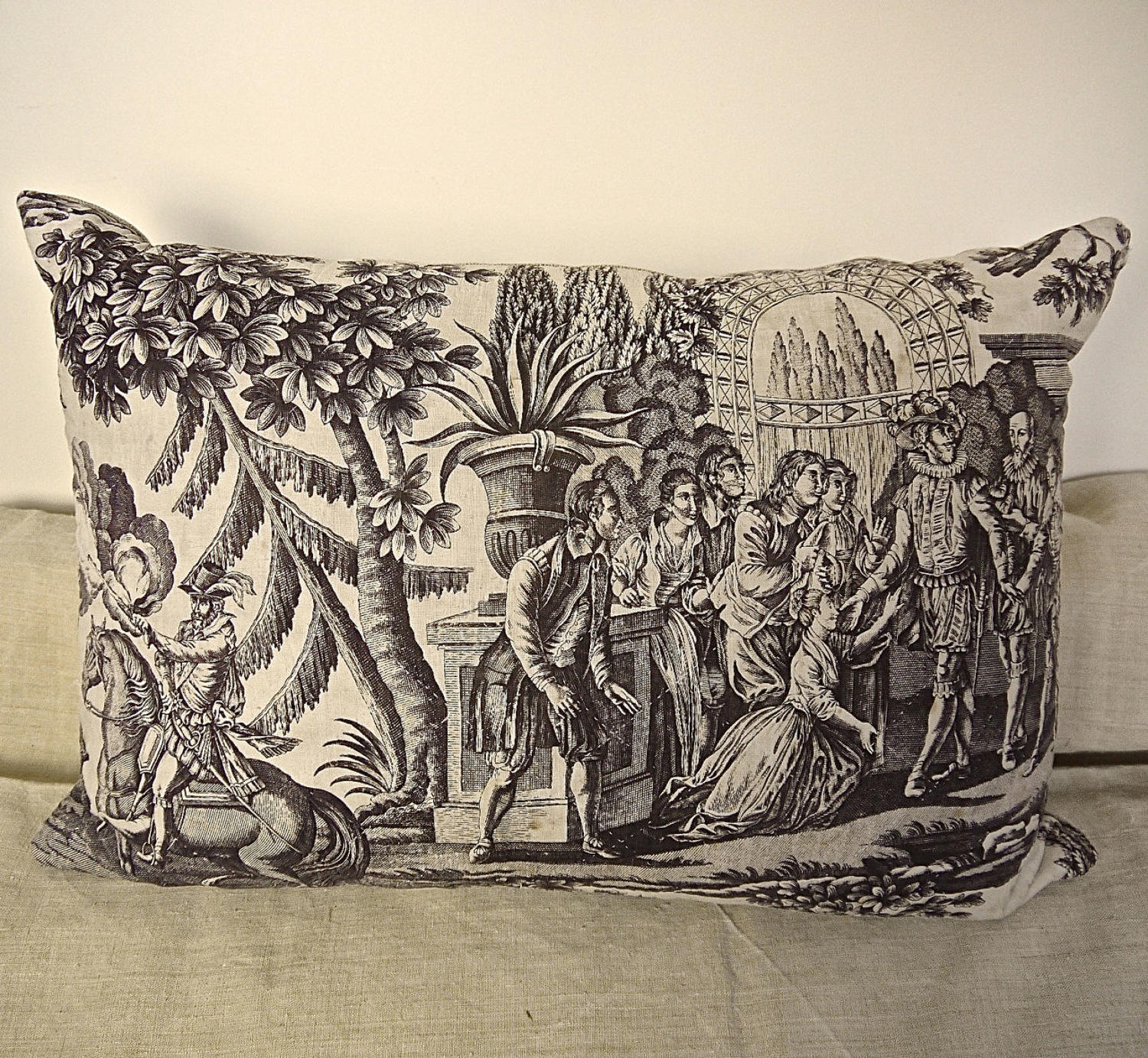 Purple Toile de Nantes Cotton Cushion French c.1805