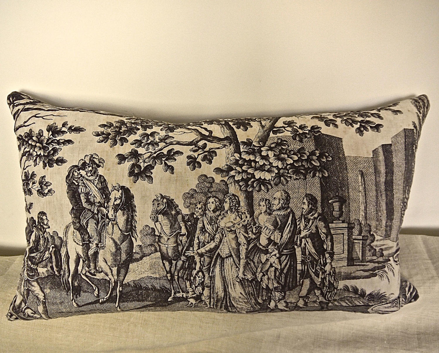 Purple Toile de Nantes Henri IV Cotton Cushion French c.1805
