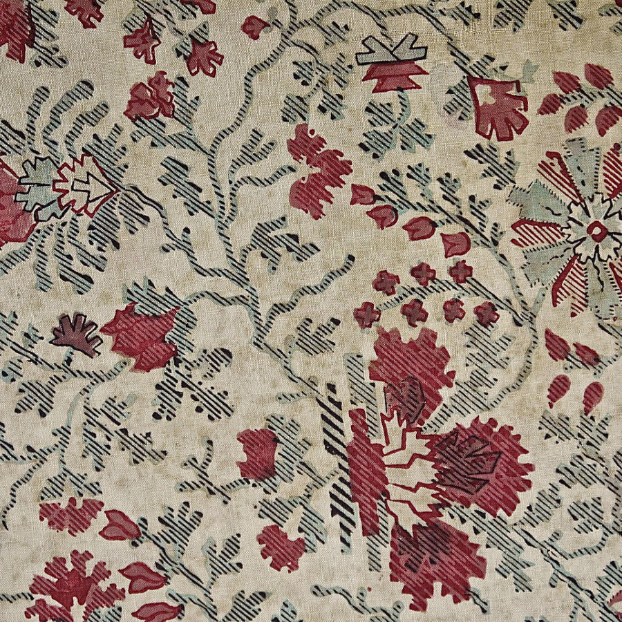 Indienne Print Cotton Single Curtain French 19th Century