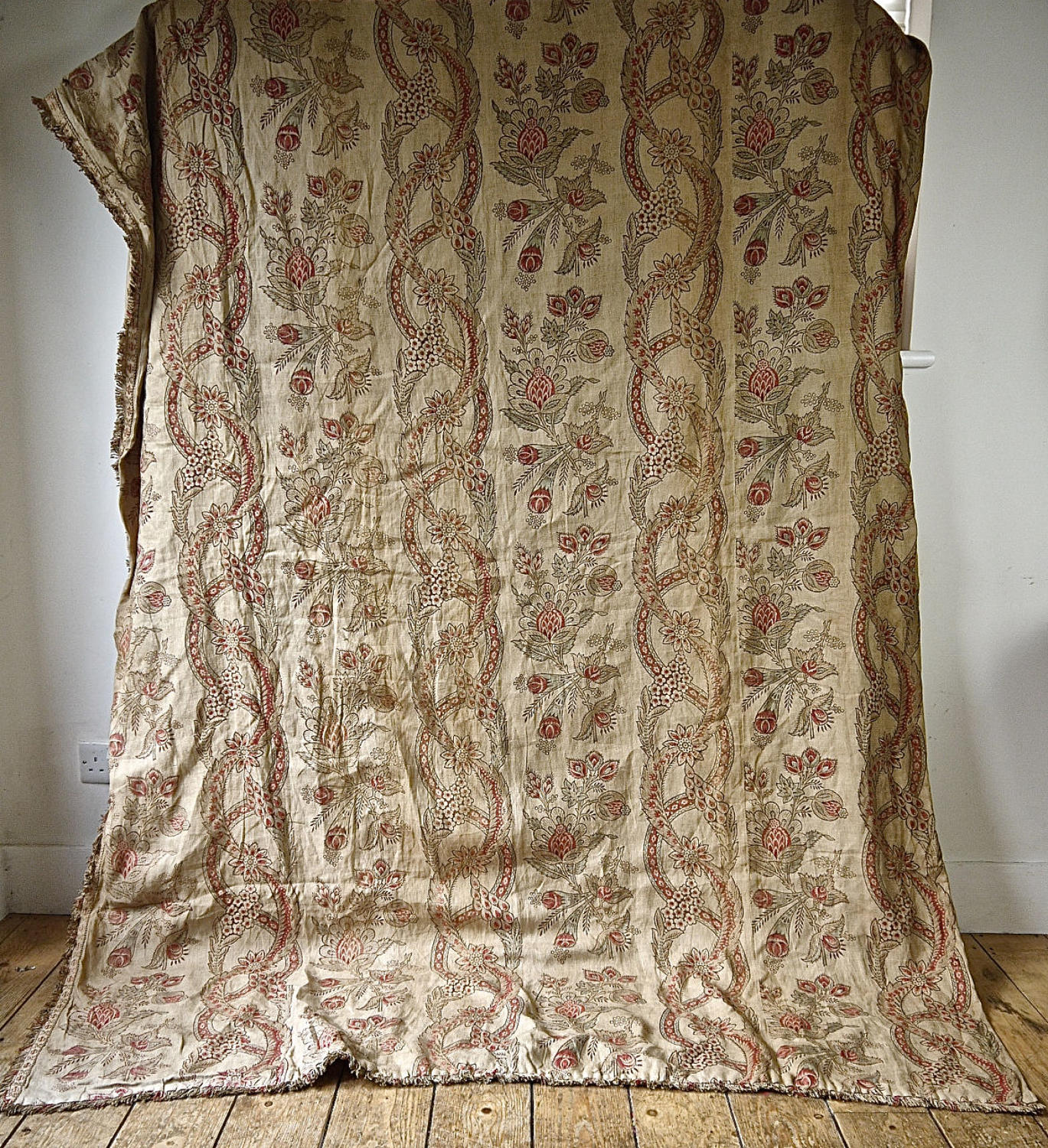 Stylised Floral Faded Linen Single Curtain French 19th Century