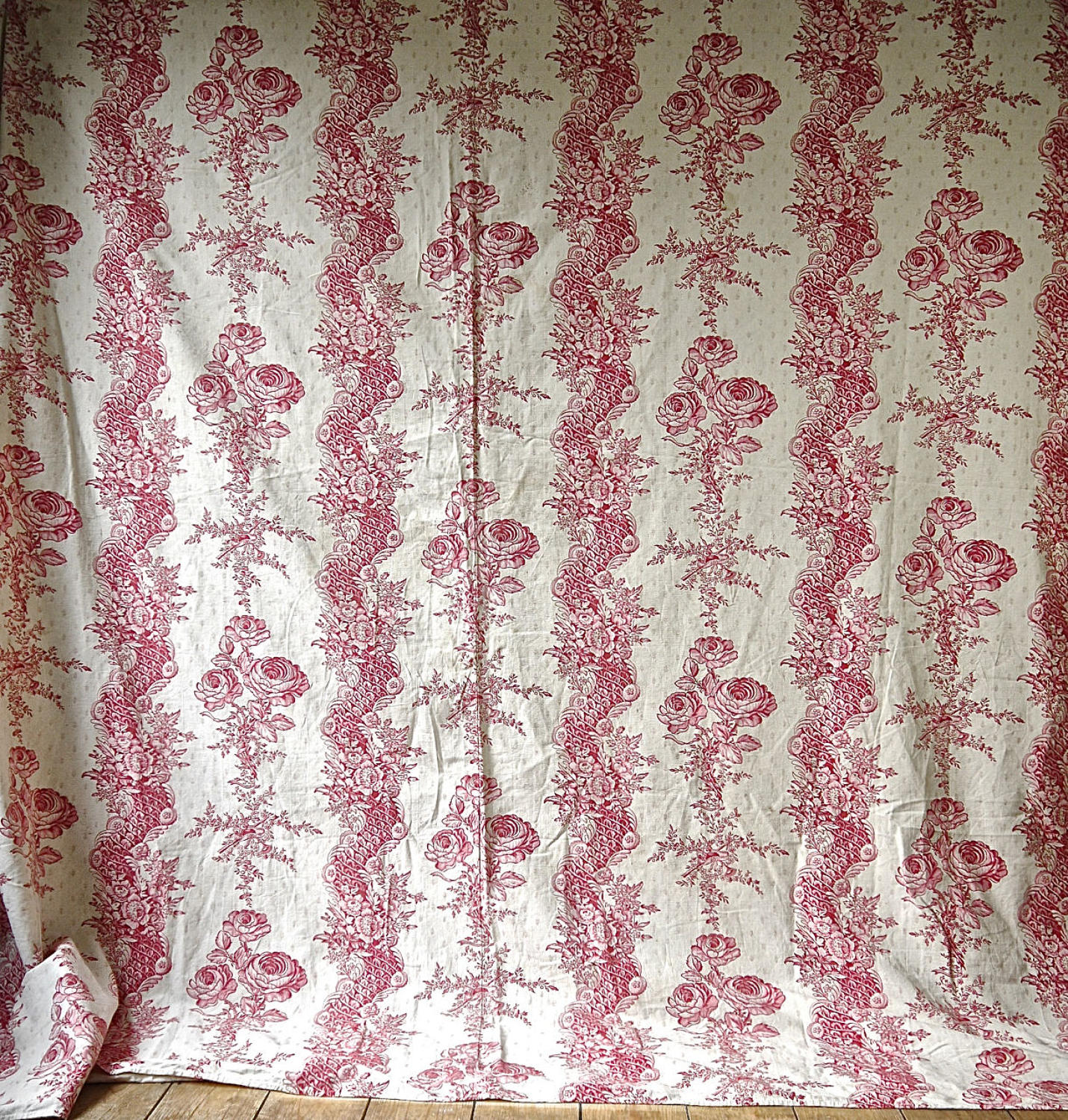Pink Roses and Columns Cotton Cover French 19th Century