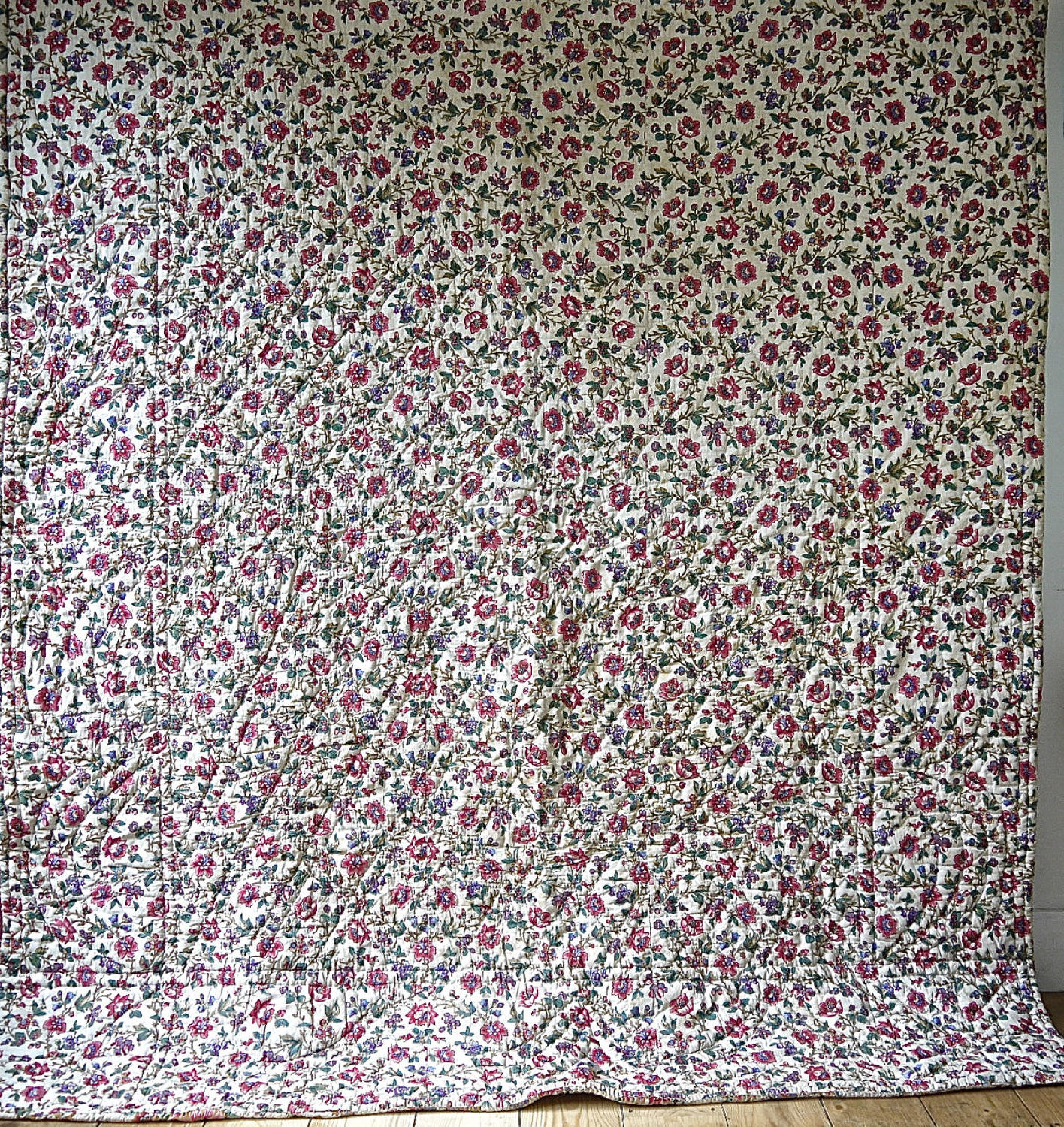 Floral Blockprinted Cotton Quilt French 19th Centuey