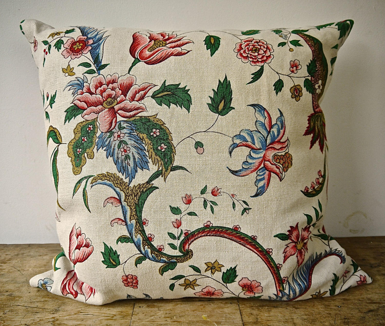 Pink Red Floral Linen CushionFrench Early 20th Century