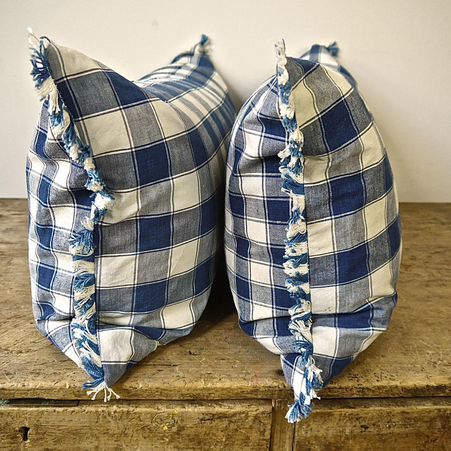 Blue and White Cotton Checked Cushions French Early 20th Century