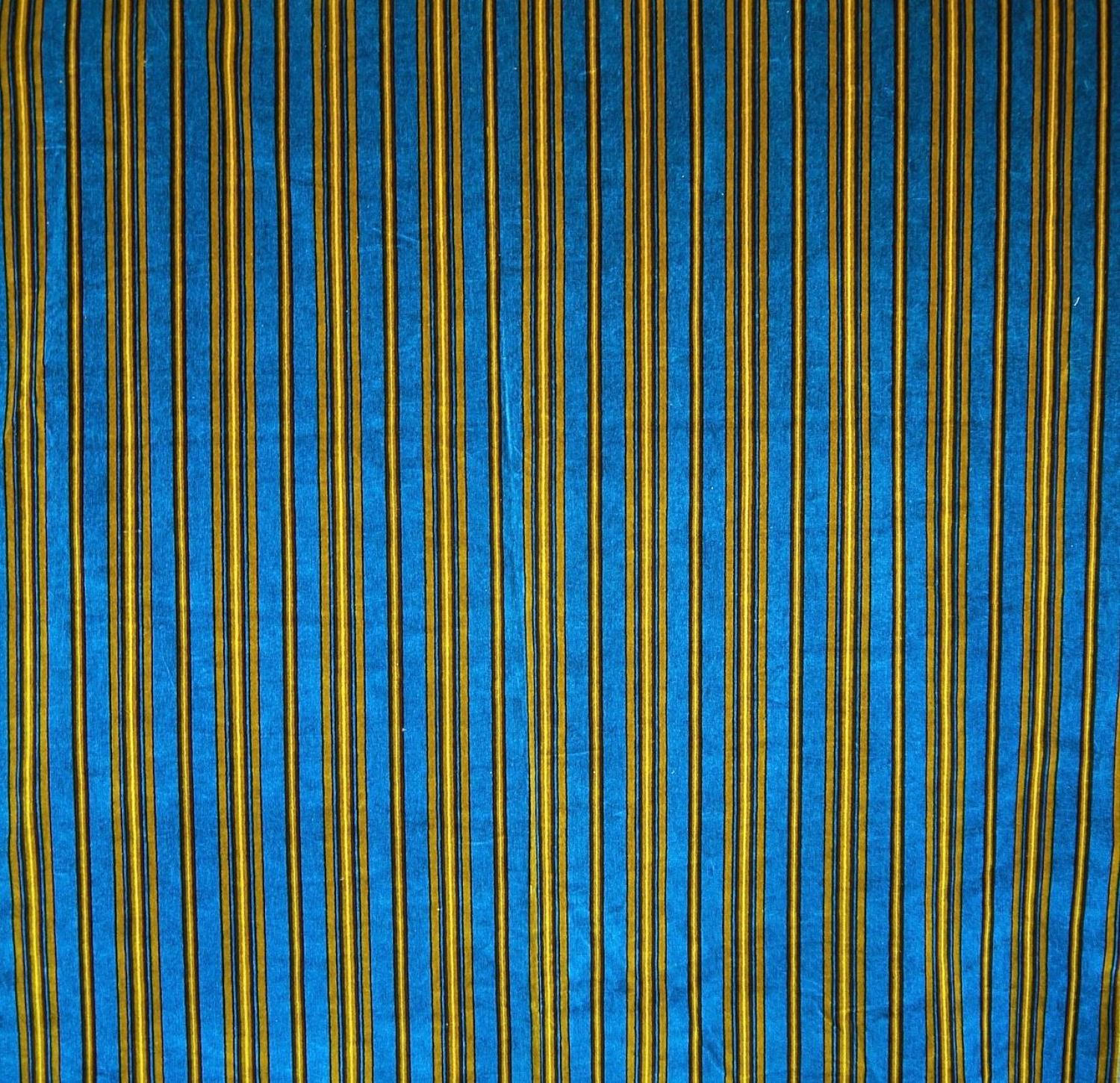 Blue and yellow Striped Cotton Velvet French Napoleon III 19th Century