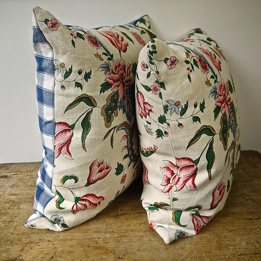 Pink and Red Floral  Linen Cushion French Early 20th Century