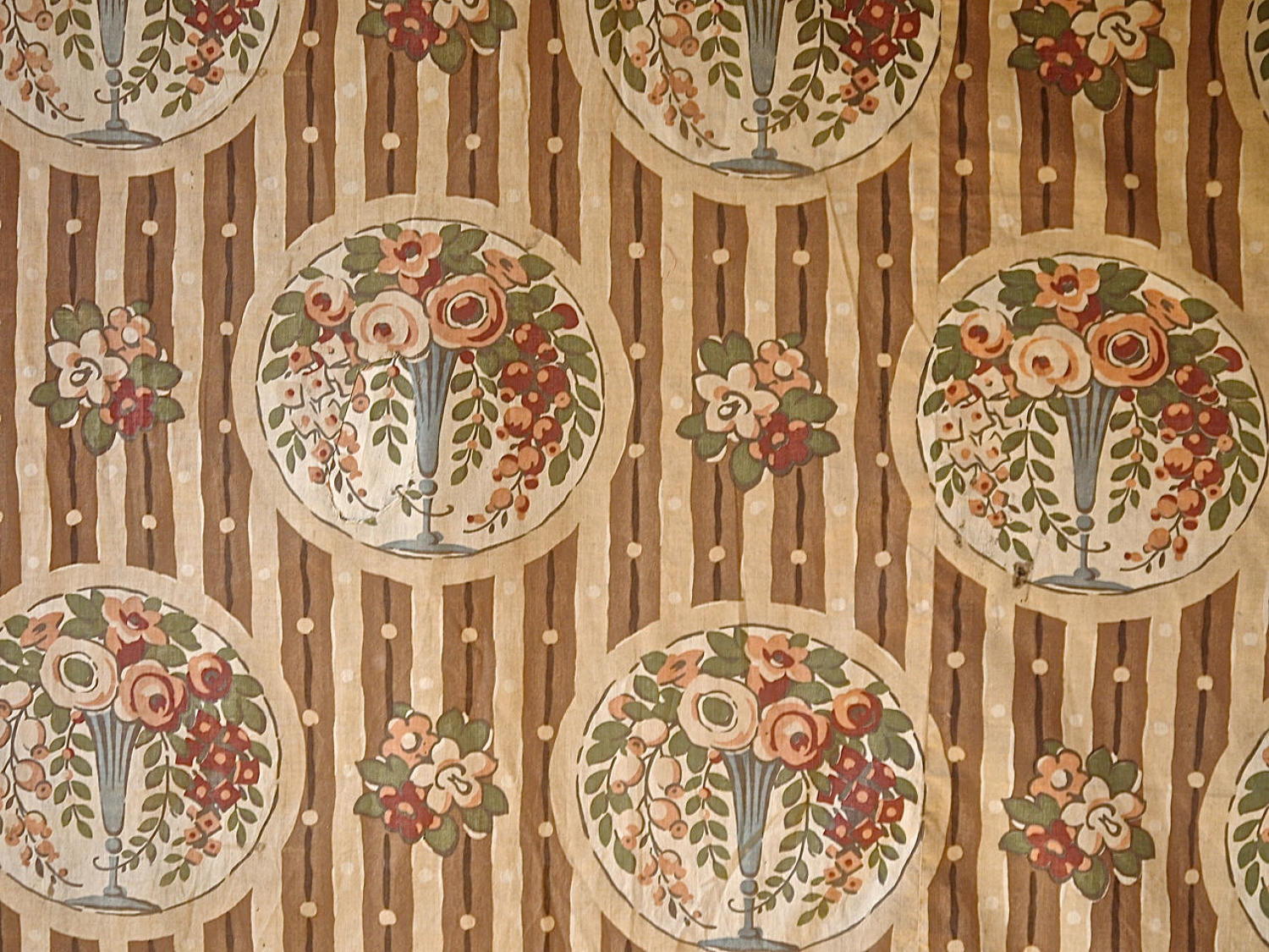 Flowers in Vases Cotton Textile French 1920s