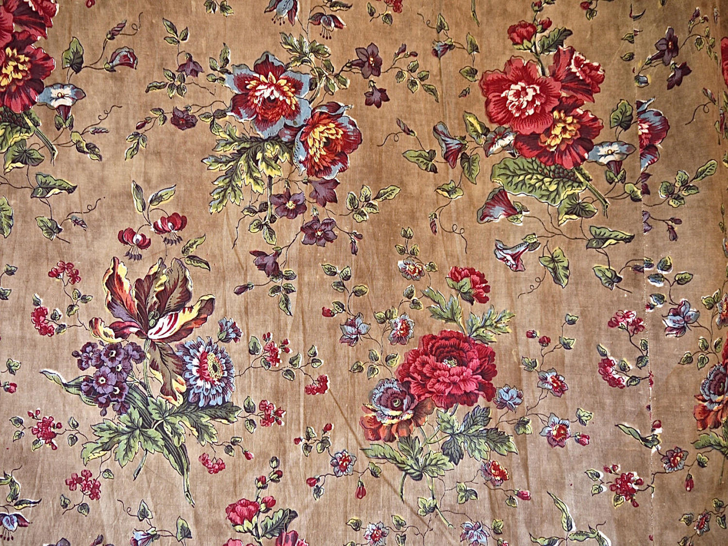 Floral Chintz Cotton Curtain French early 19th Century