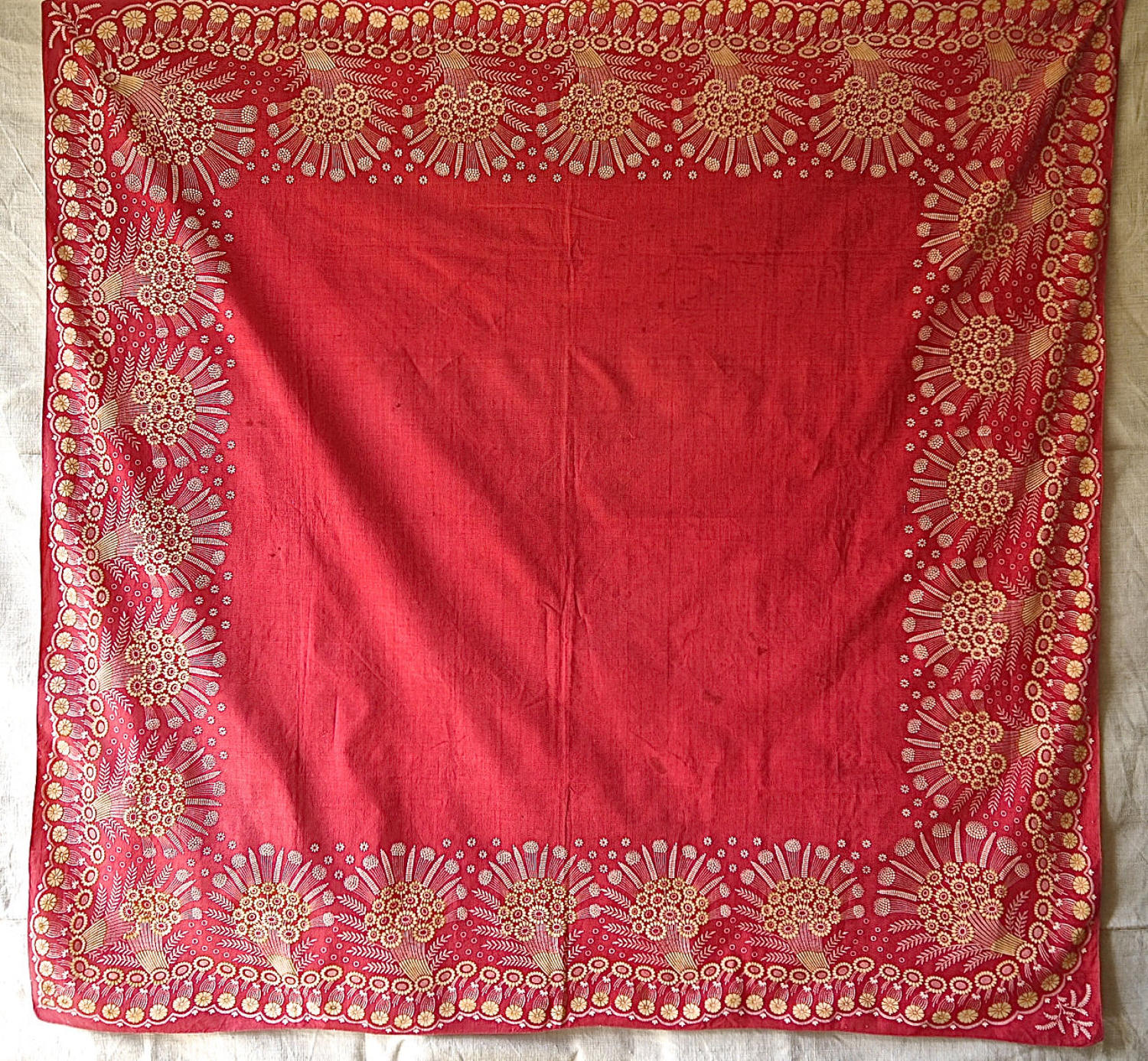 Red Cotton Scarf Mouchoir de Cou French 19th Century