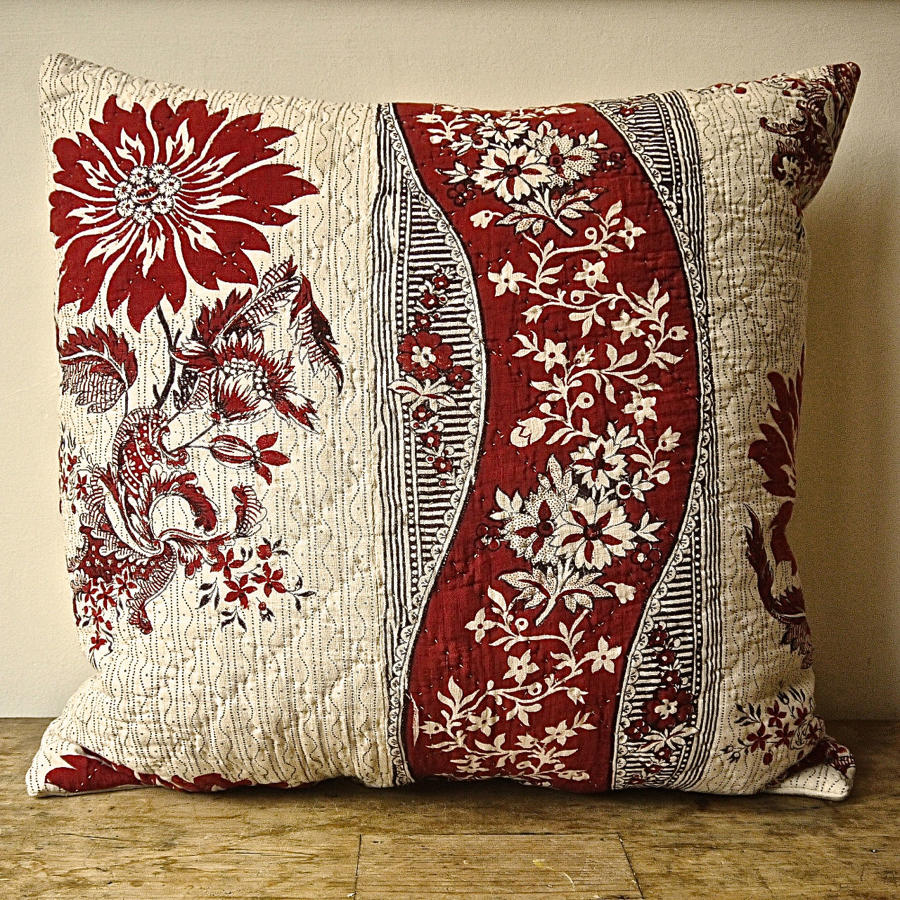Red and White Blockprinted Cushion French 18th Century