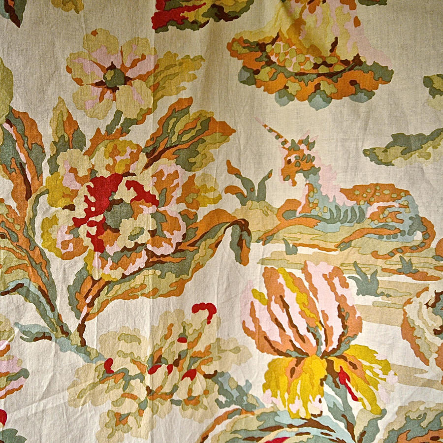 2 Pairs of Lion and Unicorn Cotton Curtains French Early 20th Century