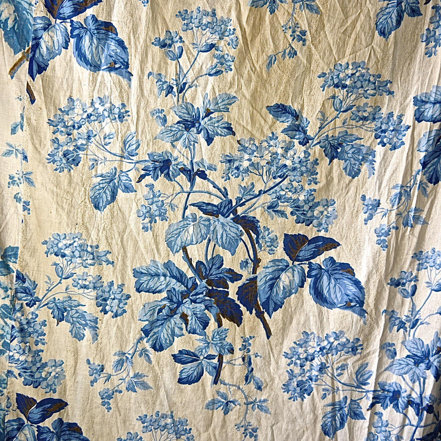 Pair of Blue Flowers and Foliage Cotton Curtains French 19th Century