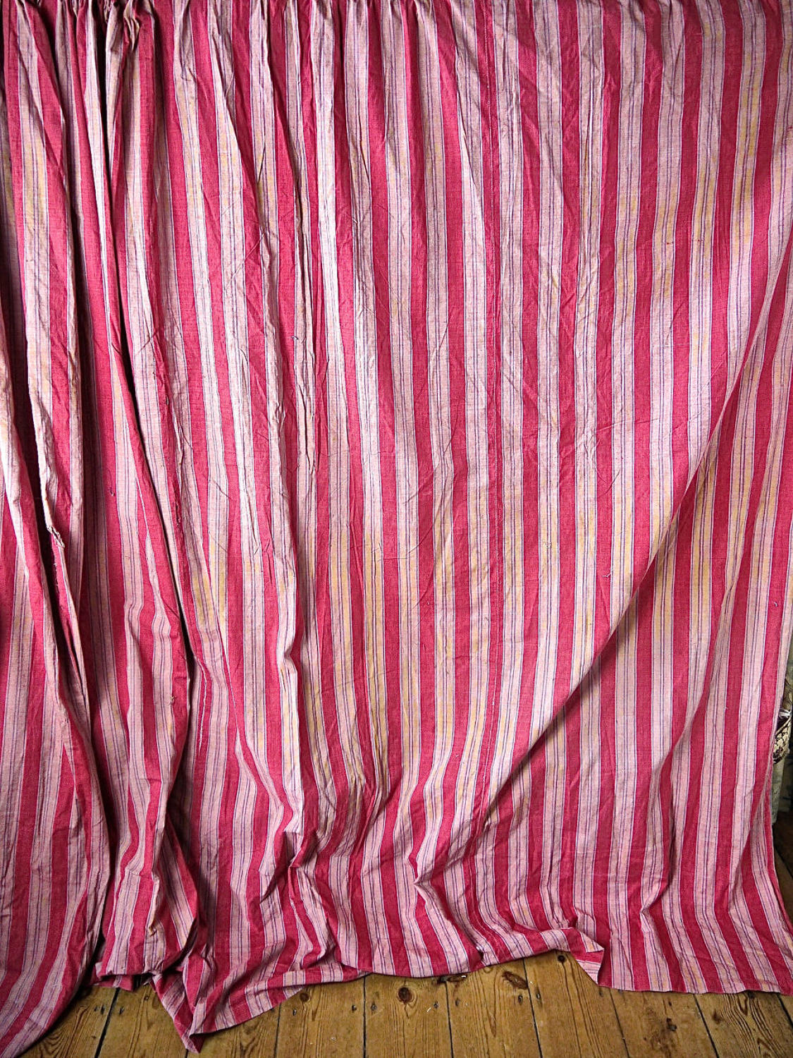 2 Red Striped Large Cotton Curtains French Late 18th Century