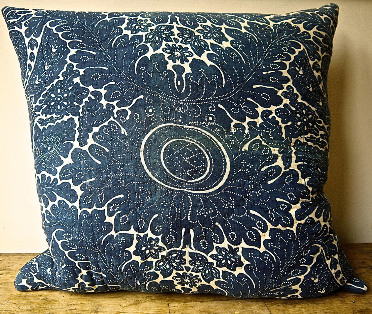 Indigo Resist Blockprinted Cotton Cushion French c1800