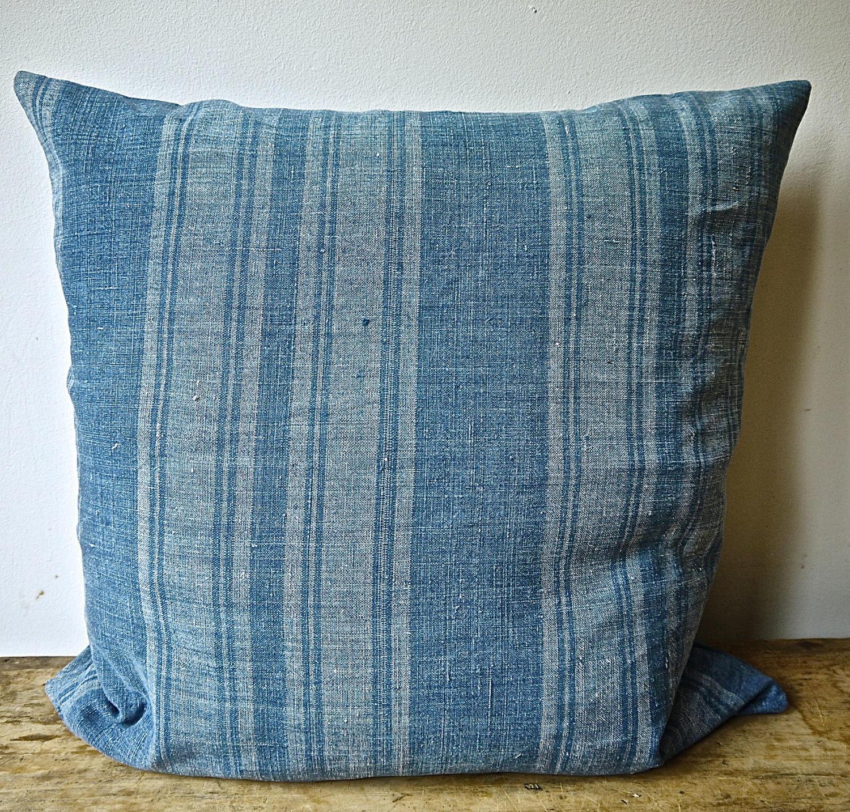 Faded Indigo Stripe Linen Cushion French 19th Century