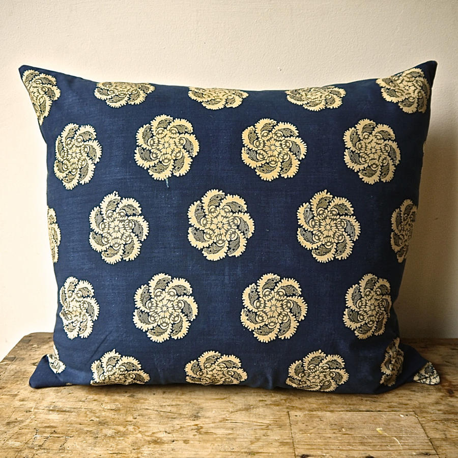 Indigo Resist Blockprinted Cotton Cushion French Empire c1810