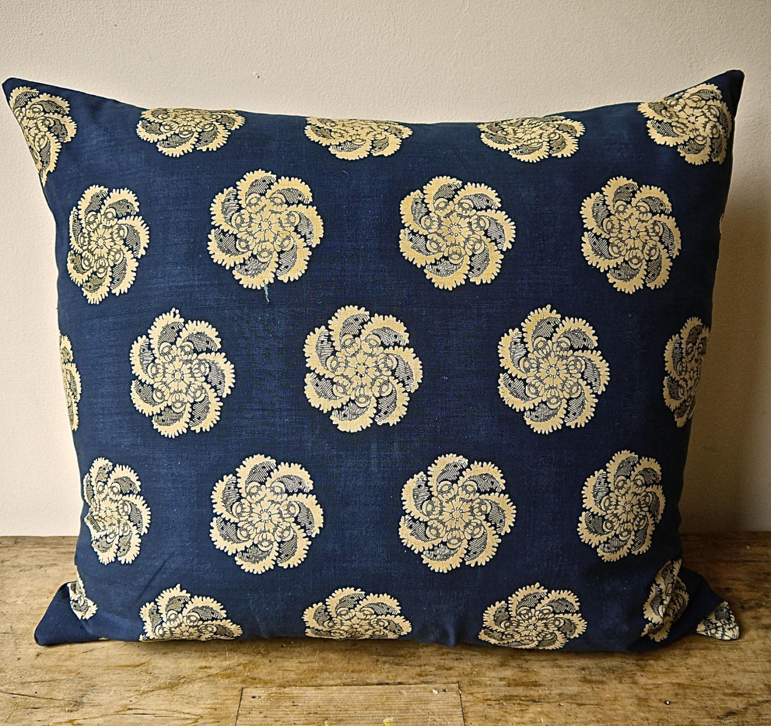 Indigo Resist Blockprinted Cotton Cushion French Empire c1810