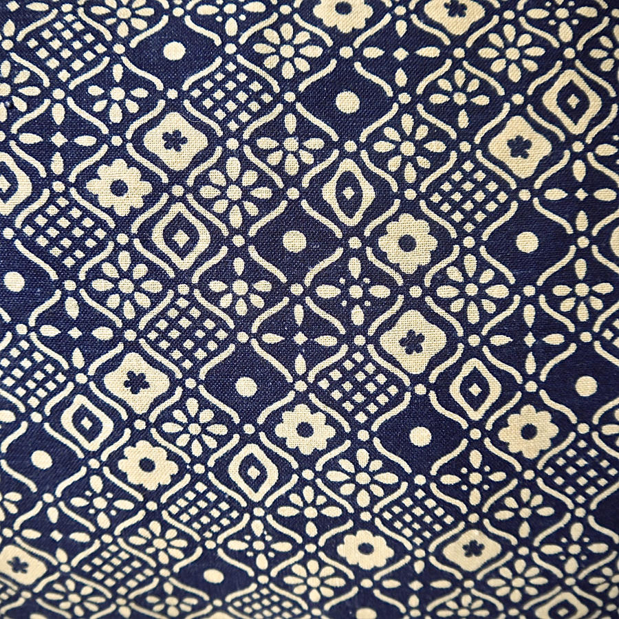 Indigo and Cream Printed Cotton Cushion French Mid 20th Century