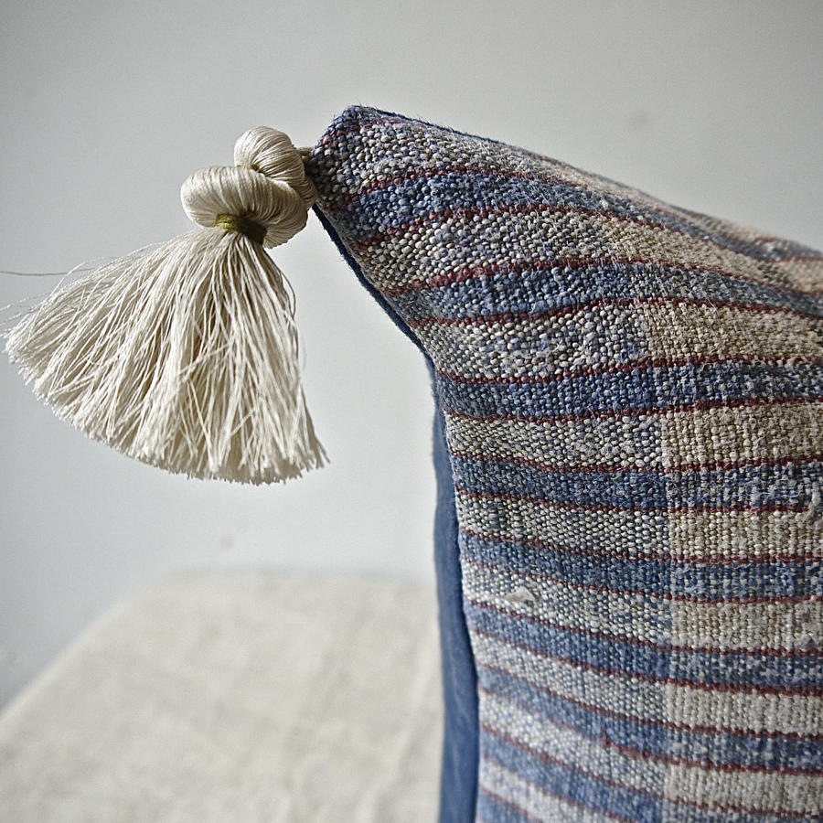 Blue red Striped hemp Cushion Portuguese 19th Century