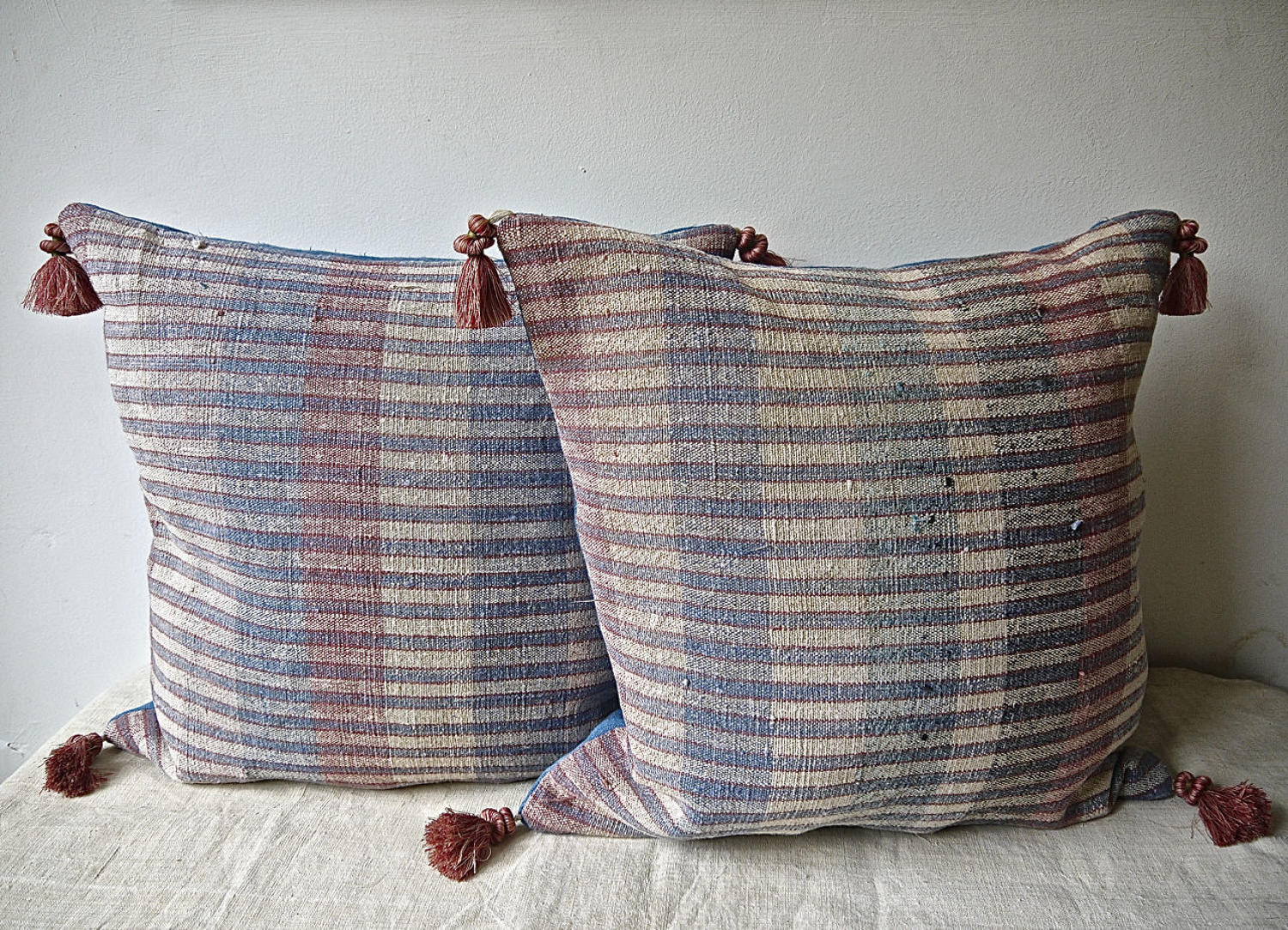 Pair of Blue Red Striped Hemp Cushions Portuguese 19th Century