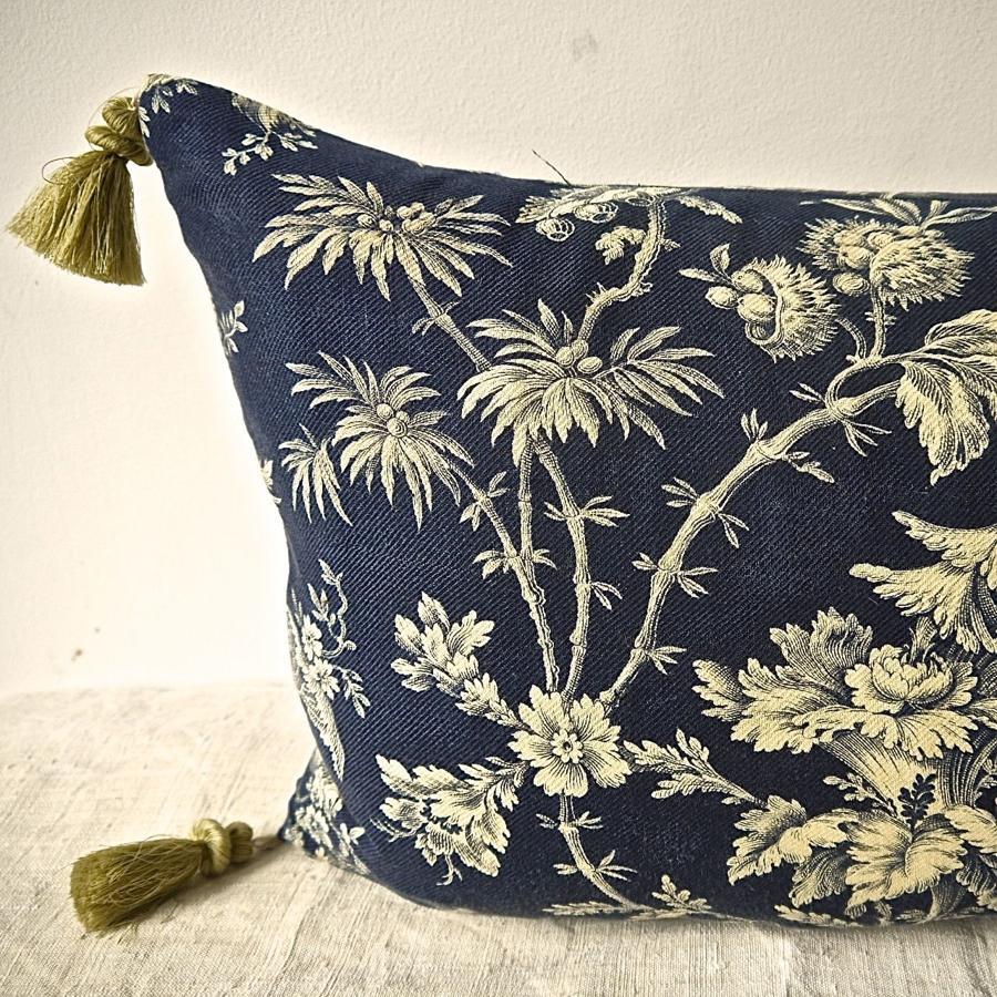 Indigo and Cream Indienne Cotton Cushion French 19th Century