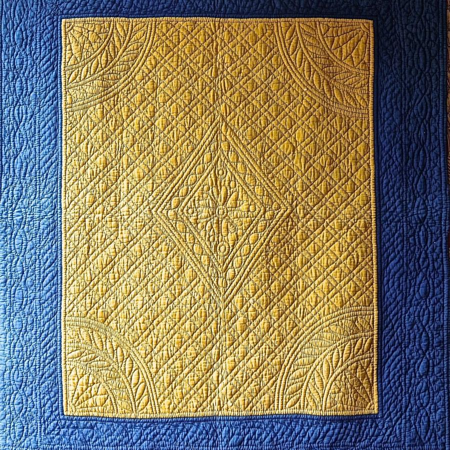 Indigo and Saffron Yellow Quilt