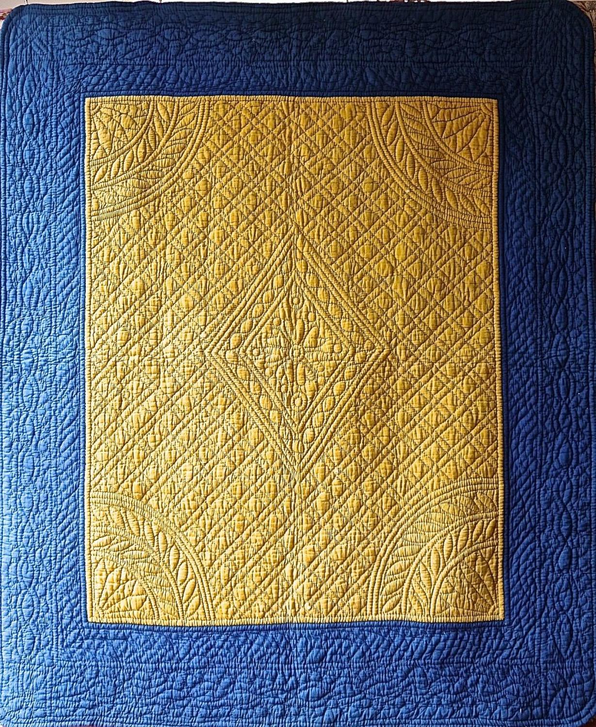 Indigo and Saffron Yellow Quilt