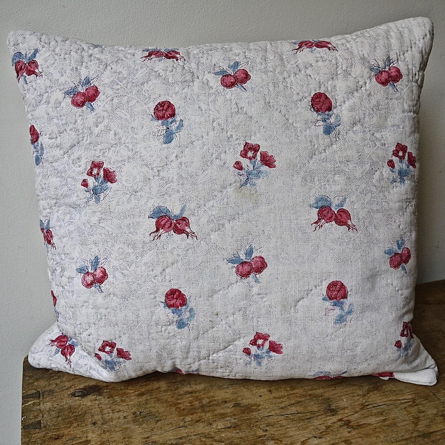 Pink Rosebuds Blue Leaves Cotton Cushion French 18th Century