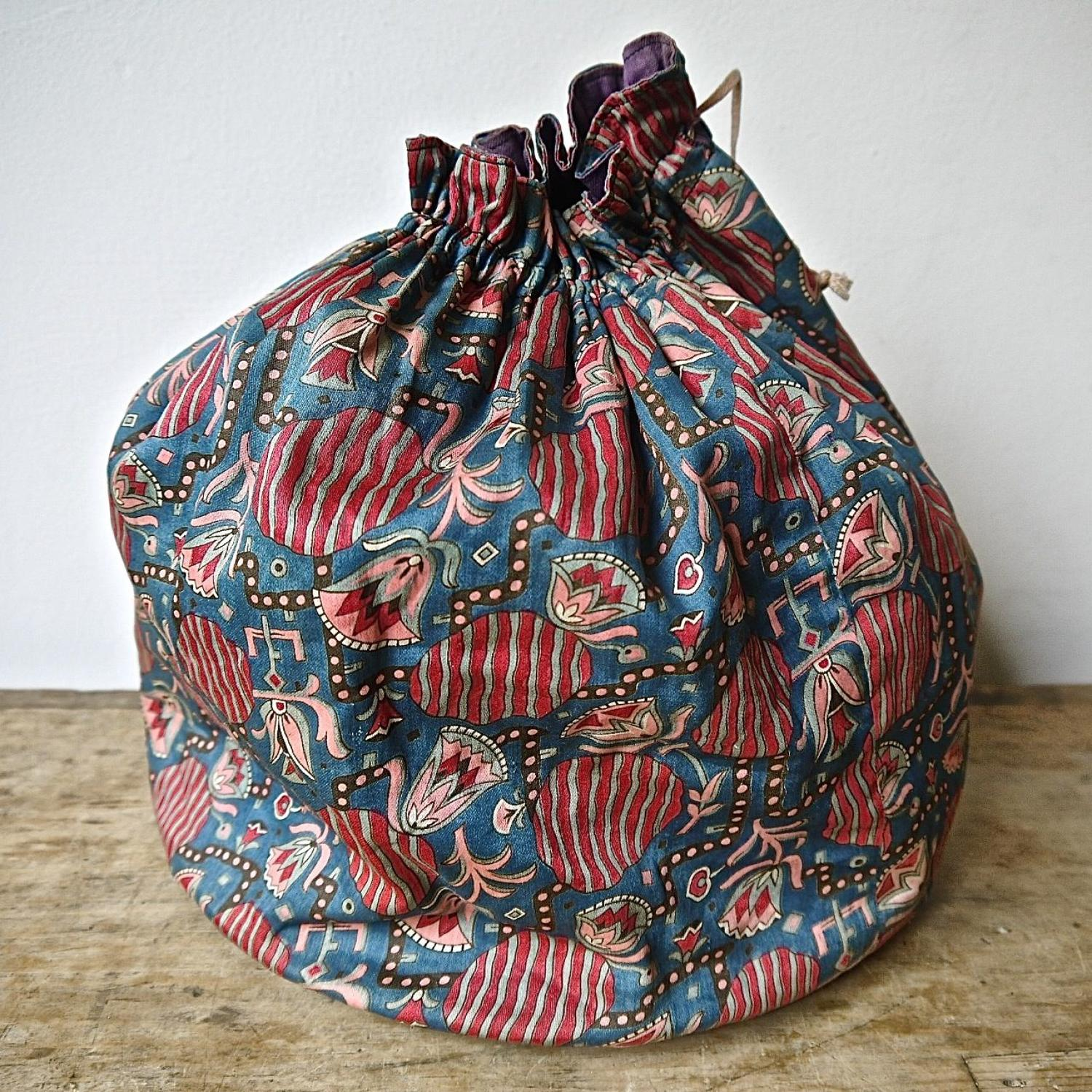 Printed Cotton Drawstring Bag French 1920s