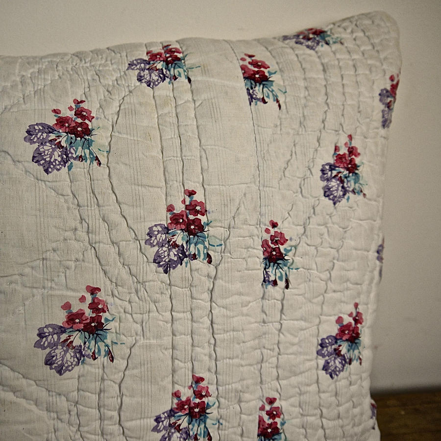 Red Flowers Violet Leaves Cotton Cushion French Late 18th Century