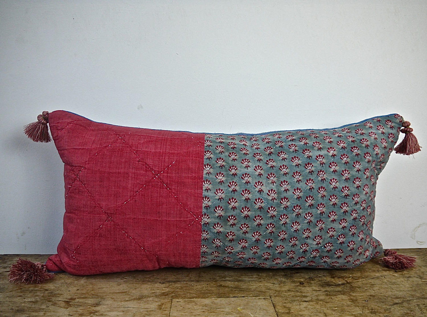 Faded Blue and Red Quilted Cotton Cushion French c.1790s