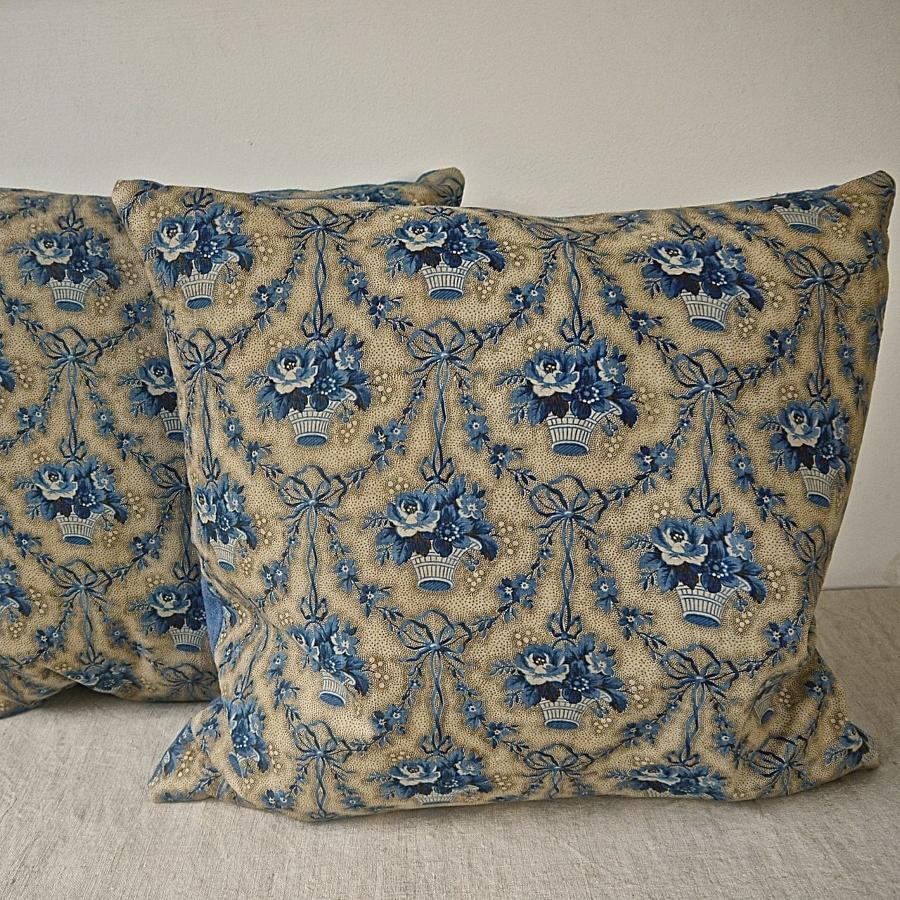 Pair of Blue Flowers Cotton Chintz Cushions French 19th Century