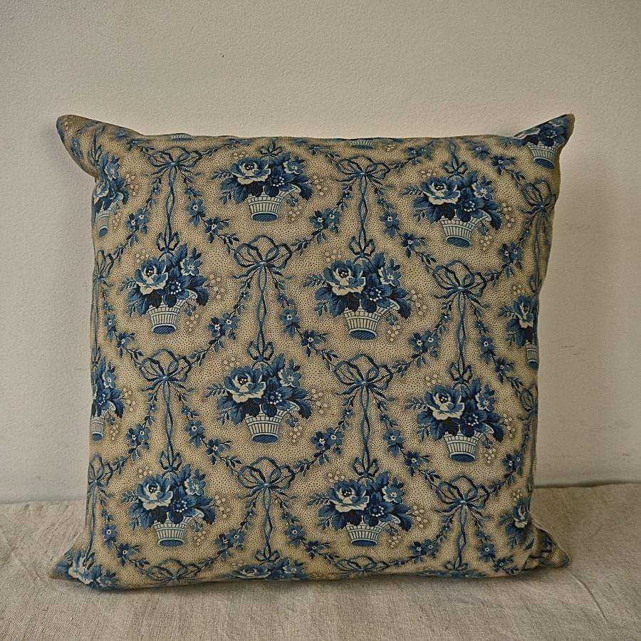 Blue Flowers Cotton Chintz Cushion French  19th Century