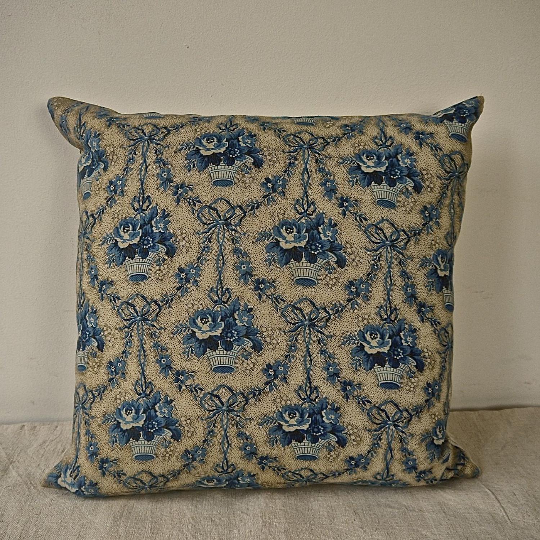 Blue Flowers Cotton Chintz Cushion French  19th Century