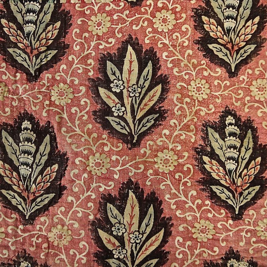 Stylised Leaves BlockPrinted Pelmets French 18th Century