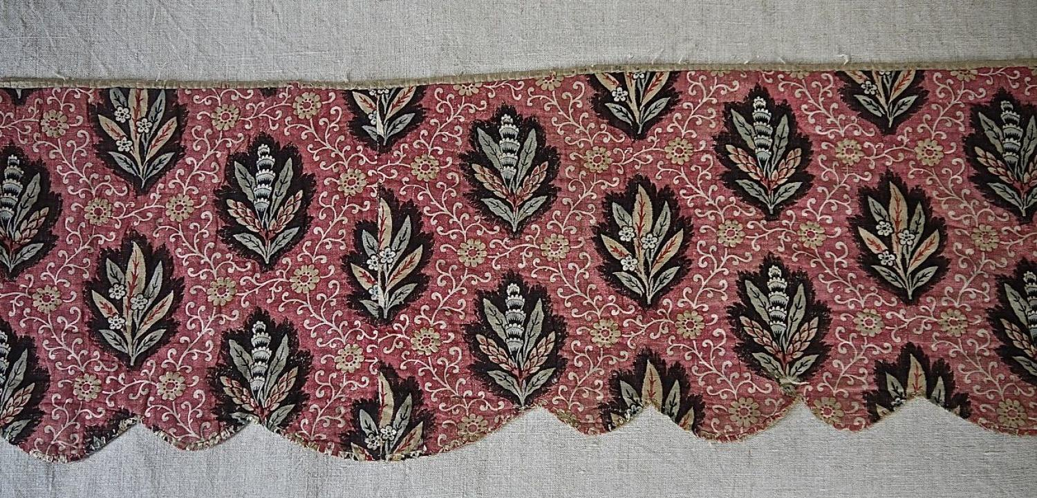 Stylised Leaves BlockPrinted Pelmets French 18th Century
