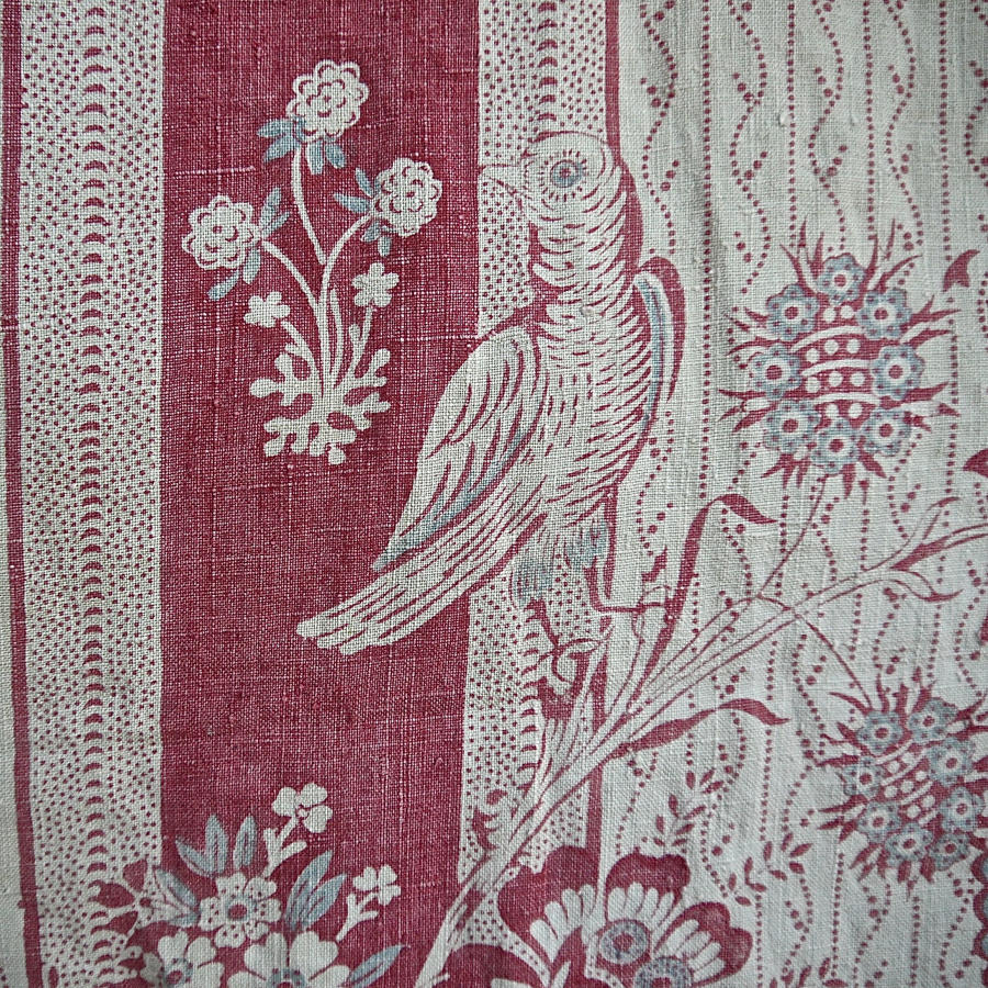 Birds and Flowers Linen Bedcover French 19th Century