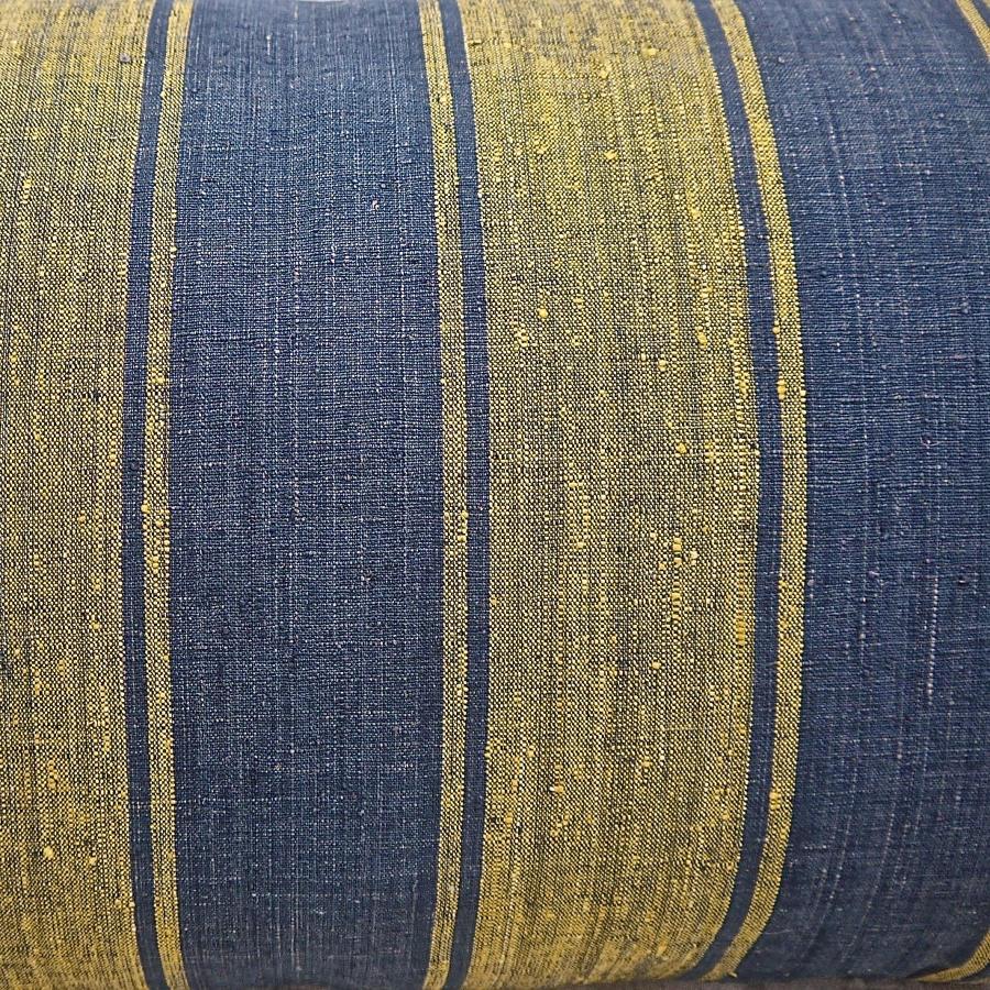 Indigo & Saffron Stripes Silk Cushion With Tassels French 19th Century