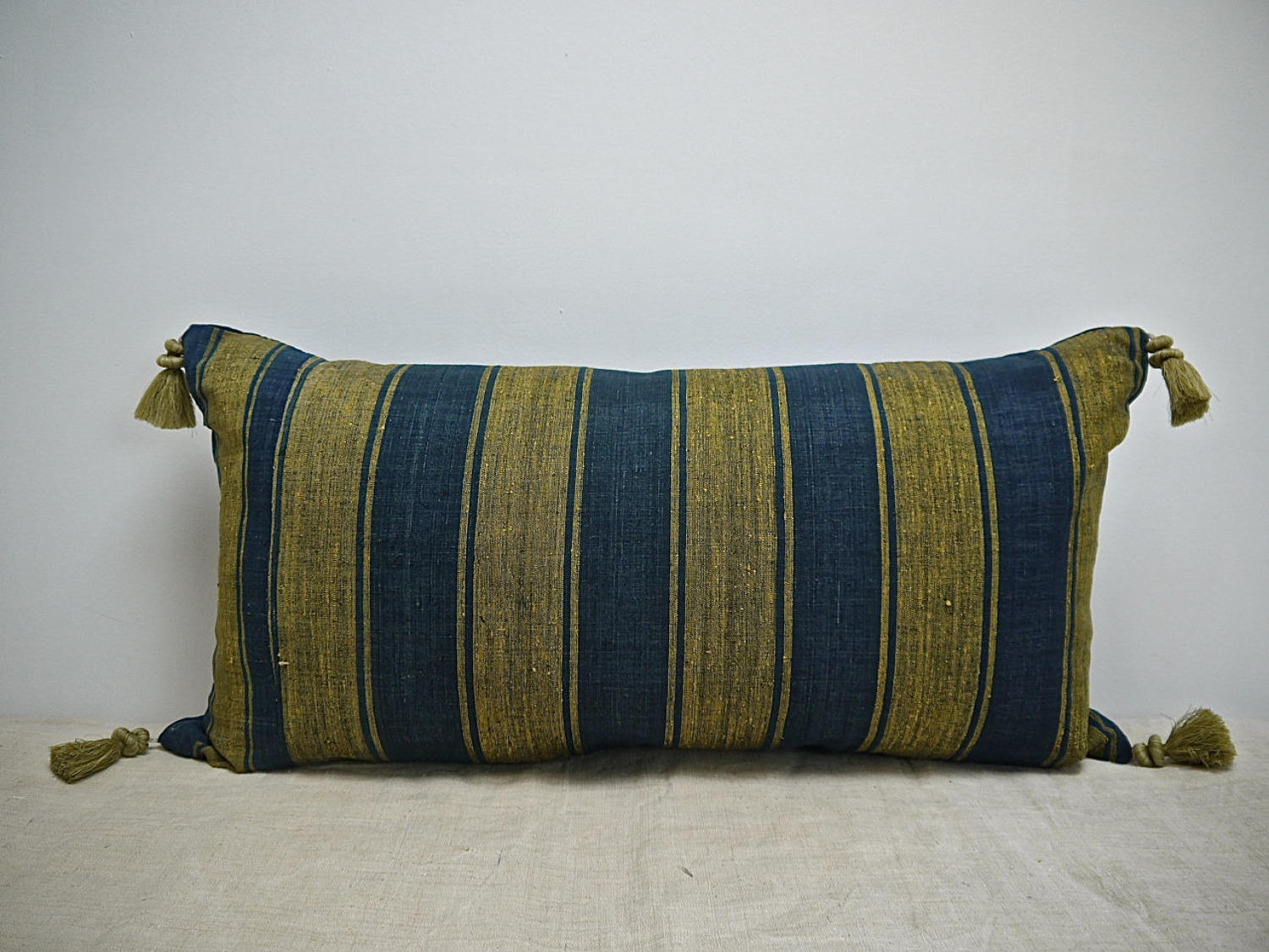 Indigo & Saffron Stripes Silk Cushion With Tassels French 19th Century