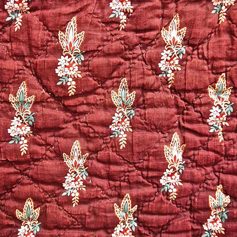 Flowers Blockprinted on Burgundy Red Cotton Quilt French 18th Century