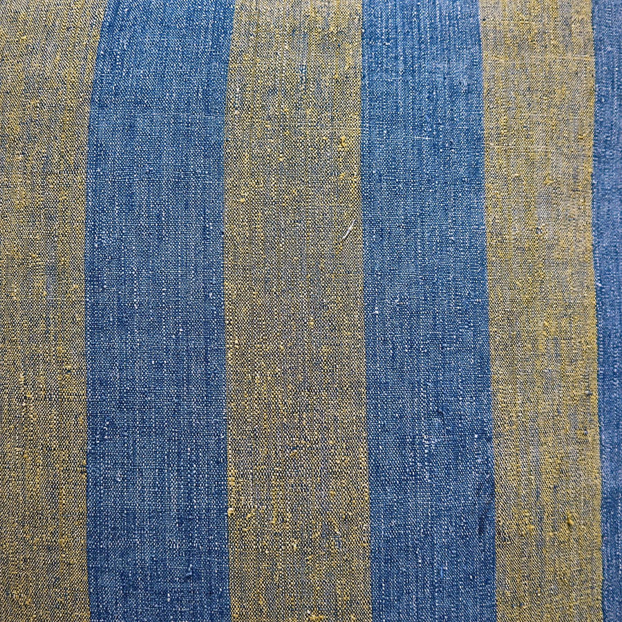 Indigo & Saffron Stripes Silk Cushion French 19th Century