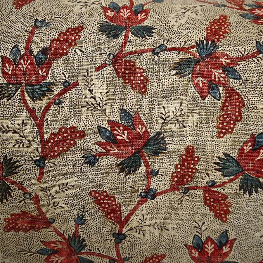 Stylised Red Flowers Blockprinted Cotton Cushion French 18th Century