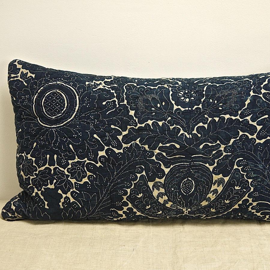 Indigo Resist Blockprinted Cotton Cushion French c1800