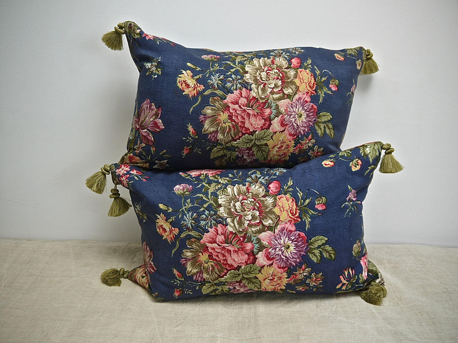 Pair of Floral Print Cotton Cushions French C.1940s