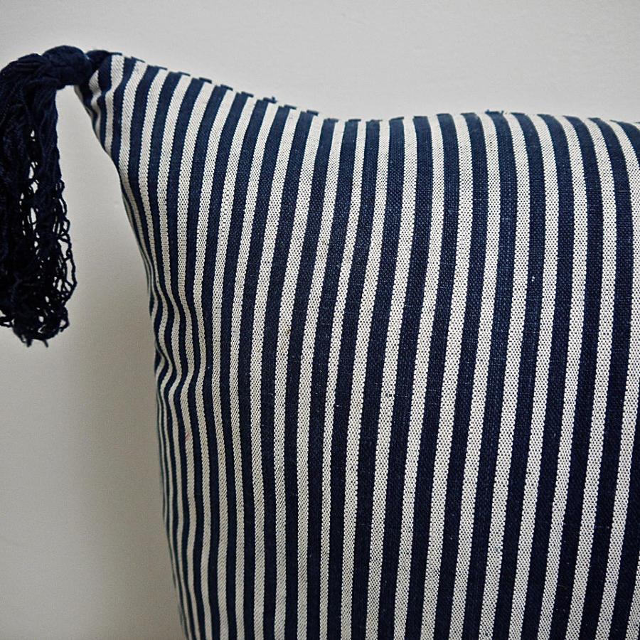 Indigo White Stripe With Tassels Cotton Cushion French 19th Century