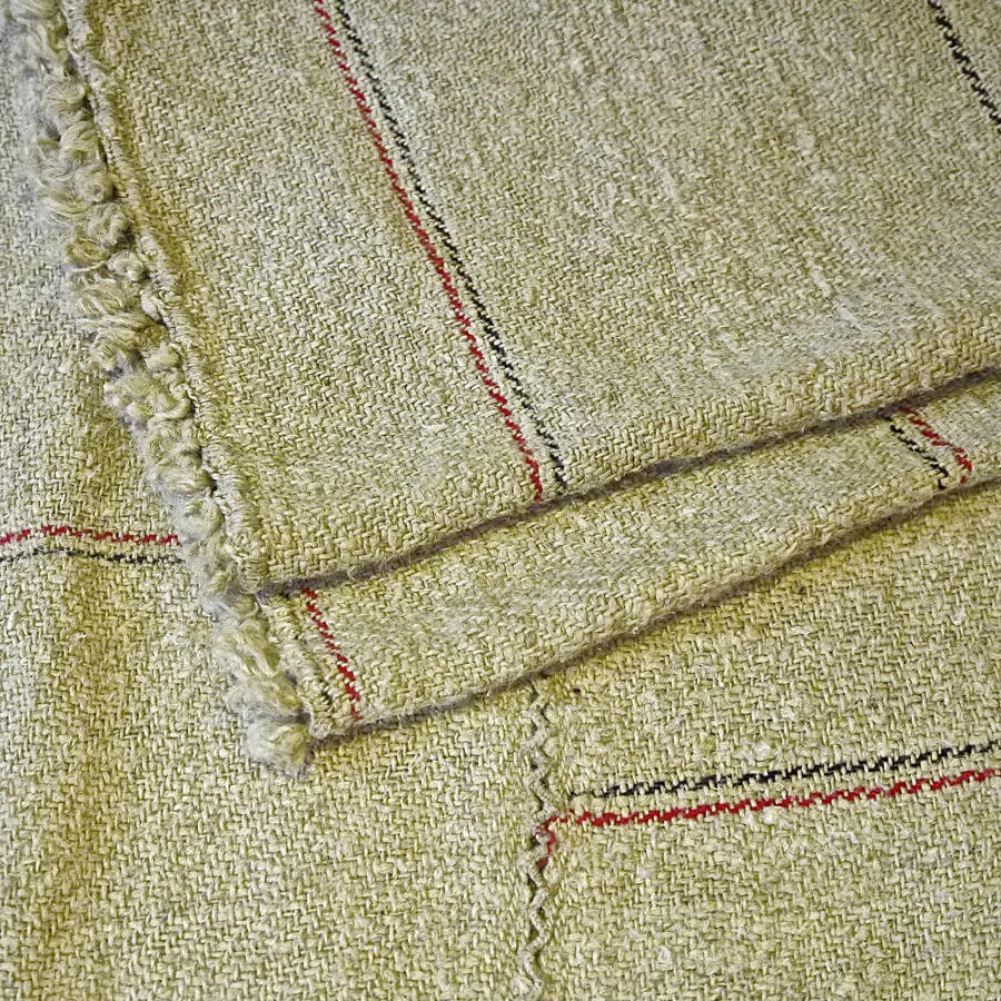Hemp Striped Cloth French Alsace 19th Century