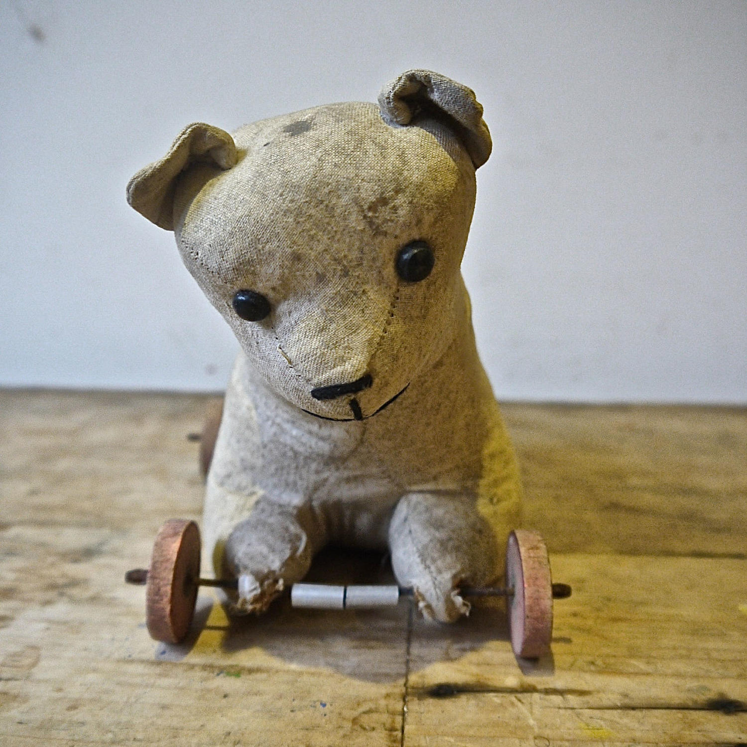 Toy Cat on Wheels French Early 20th Century