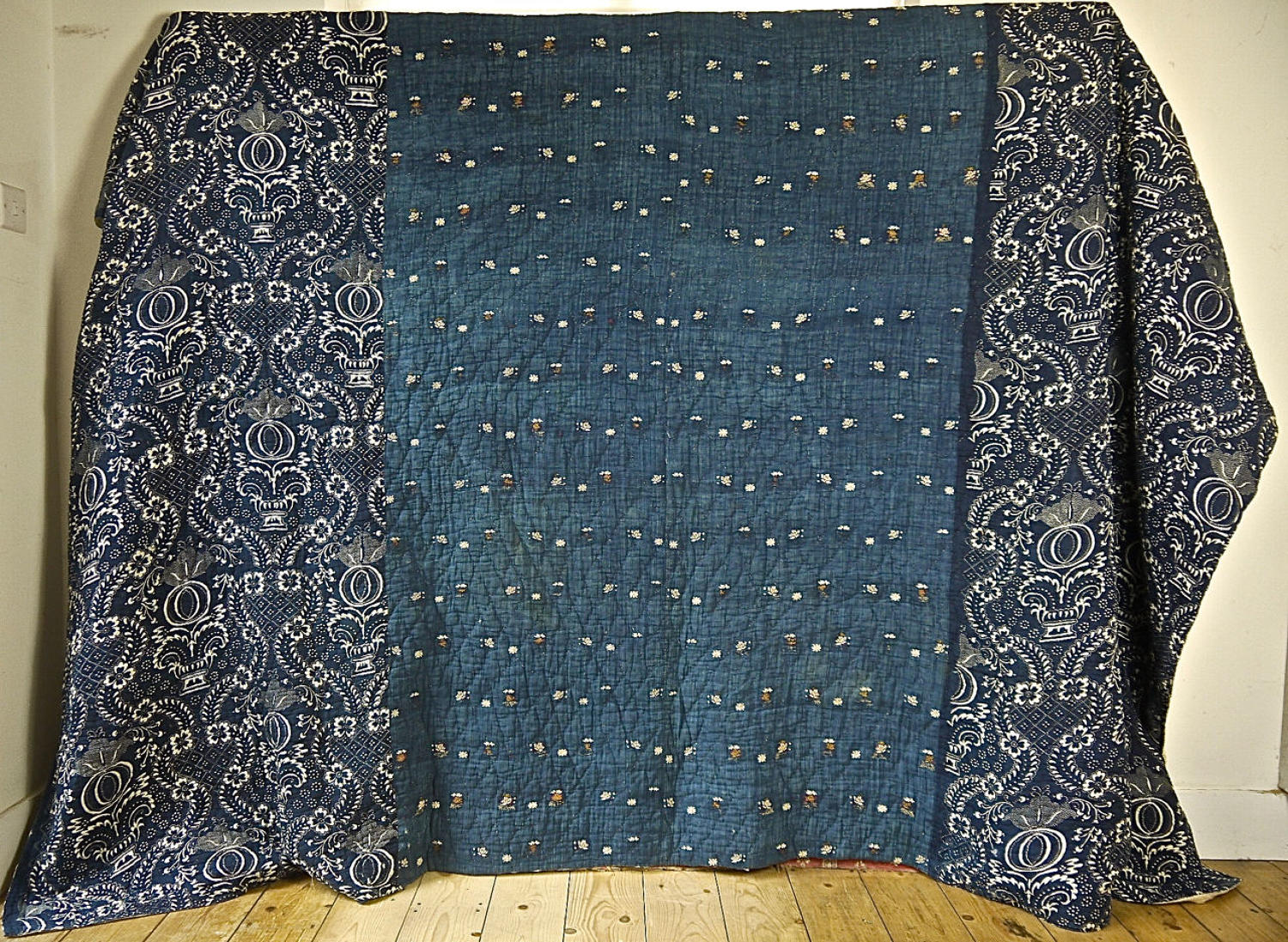 Indigo Embroidered Linen And Block-printedCotton Quilt French 18thC